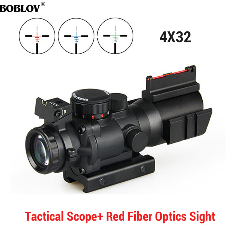 Image 1 - BOBLOV 4x32 Acog Riflescope 20mm Dovetail Reflex Optics Scope Tactical Sight For Hunting-in Riflescopes from Sports & Entertainment
