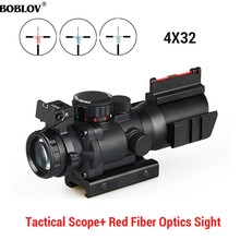 BOBLOV 4x32 Acog Riflescope 20mm Dovetail Reflex Optics Scope Tactical Sight For Hunting hunting riflescope tactical acog 4x32 real fiber source red illuminated rifle scope camouflage