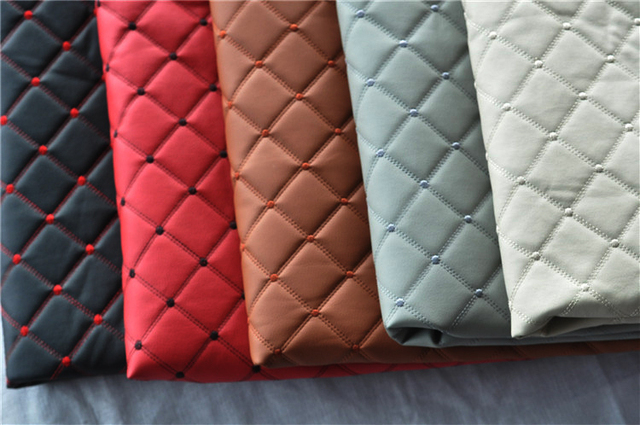 High Grade Pu Leather Perforated Embroidered Plaid Fabric Car