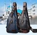 Novos Homens de Couro PU Sling Bag Peito Corpo Cruz Mensageiro Ombro Pacote de Viagem