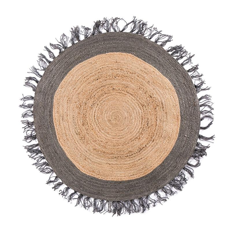 Ins chaud Kilim jute fait à la main tapis rond géométrique bohême maroc tapis indien plaid rayé design moderne style nordique salon