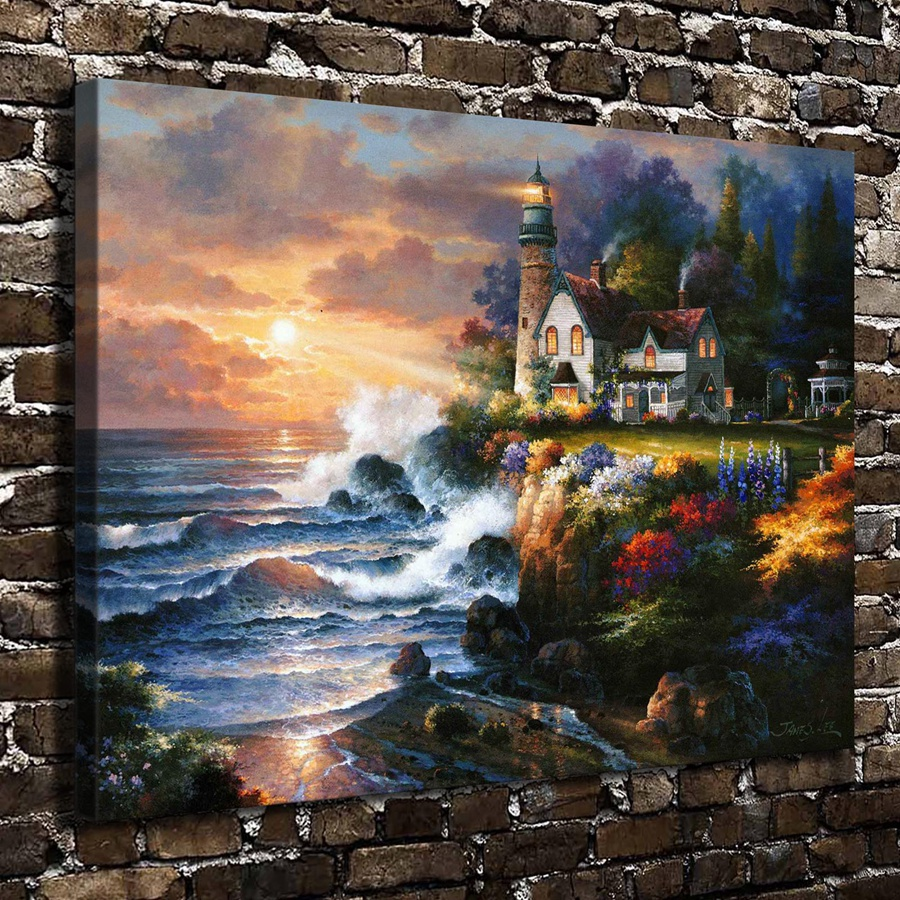 A1584 James Lee Twilight Beacon Landscape,HD Canvas Print Home decoration Living Room Bedroom Wall pictures Art Scenery painting