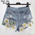 Плюс Размер Цветочные Вышивка Джинсы Шорты 4Xl 5Xl Негабаритных Женская Короткие Джинсы Джинсовые Шорты Повседневная Джинсы Pantalones