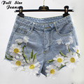 Plus Size Floral Embroidery Denim Jeans Shorts 4Xl 5Xl Oversized Women'S Short Jeans Denim Shorts Casual Jeans Denim Pantalones