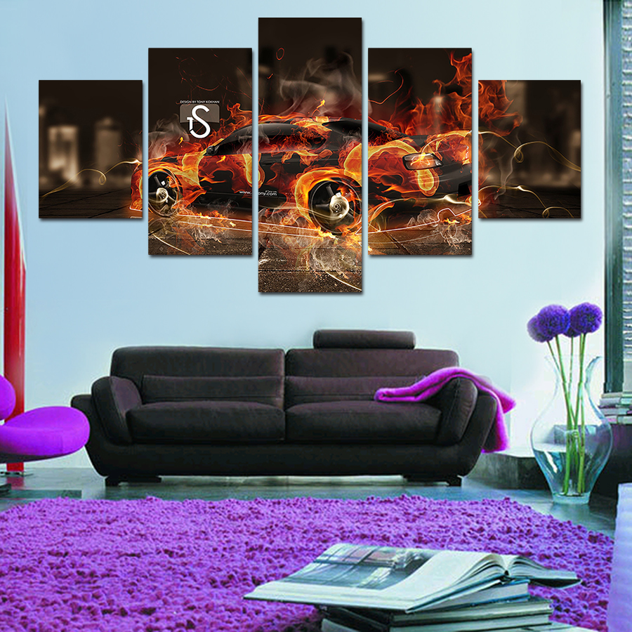 2017 Wall Art Picture 5 Panel Cool Sports Car Large HD Canvas Print Painting For Living Room Decoration Free Delivery Unframed