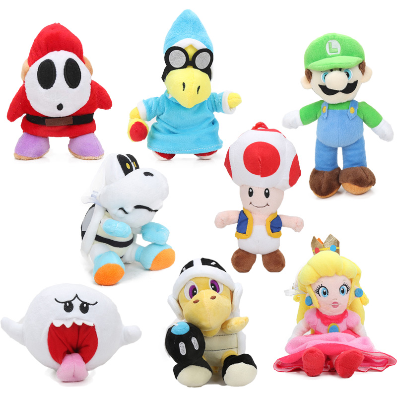 New Super Mario Bros Super Mario Plush Toy 6-25cm Luigi Dry Bones Toad Yoshi Princess Peach Daisy Plush Doll Toys Birthday Party