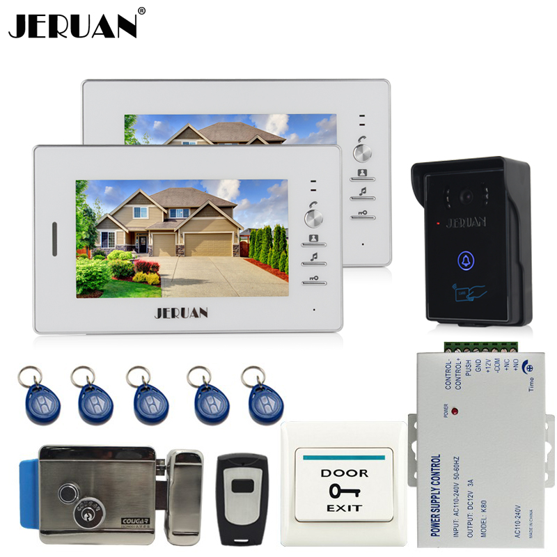 JERUAN 7`` LCD Video Intercom Video Door Phone System  2 white monitors + 700TVL RFID Access Waterproof Camera +Electronic lock 4 3inch intercom camera video doorbell electronic lock video door phone 10 monitors residential security access control system