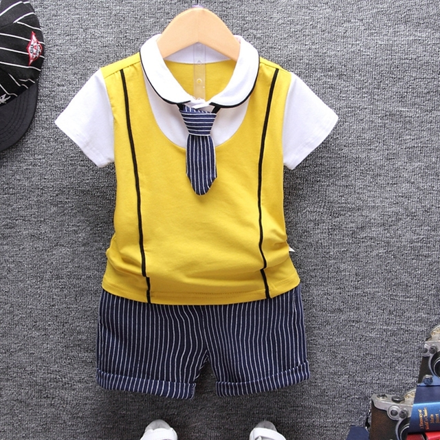 2019 Summer Cotton Baby boy Clothing Sets Formal Infant 1 Year Birthday Party Clothes Suit T-shirt+Pant Children's Cloth Sets