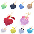Hot 1 X Women Ladies Cute Charm Heart Pendant Rhinestone Crystal Key Ring Tassel Keychain Jewelry 10 Colors