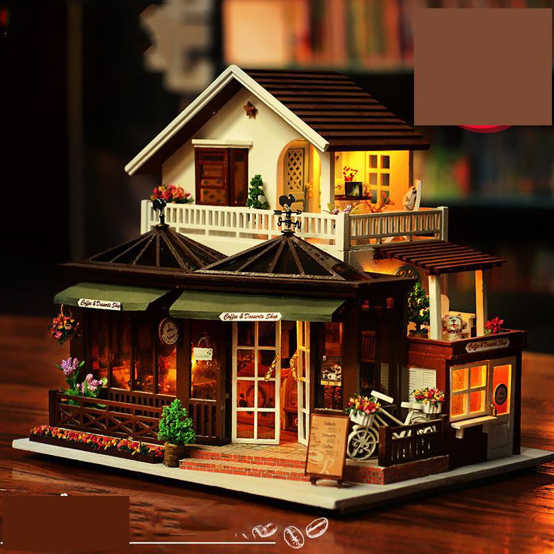 Big Diy Toy For Boy & Girl Diy Doll House Wood Assembling Model Toys Diy Kids Educational Diy Toy House With Led Light Music electric air bus model toys moving flashing led light sounds kids toy assembling aircraft children gift a380 airbus music toy
