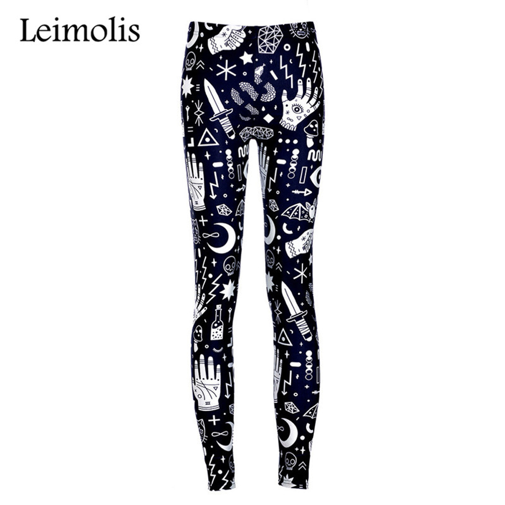 Leimolis High Waist Punk Rock Harajuku Workout Push Up Fitness Sexy 3d Print Witchy Lady Women Leggings Plus Size Pants