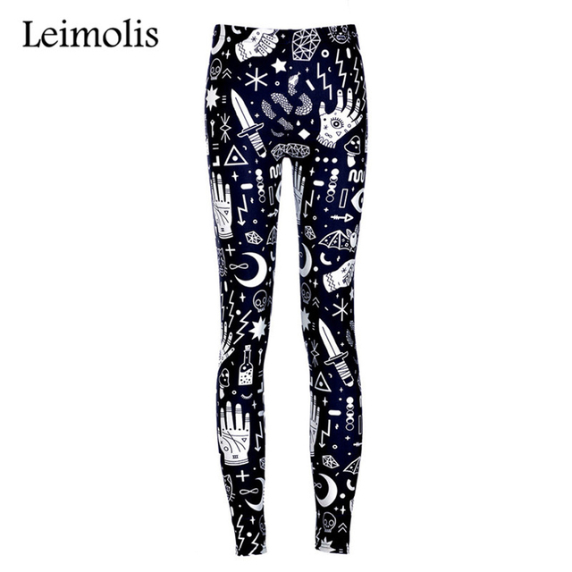 f6dbed1fdb815 Leimolis High Waist punk rock Harajuku workout push up fitness sexy 3d print  Witchy lady women leggings plus size pants