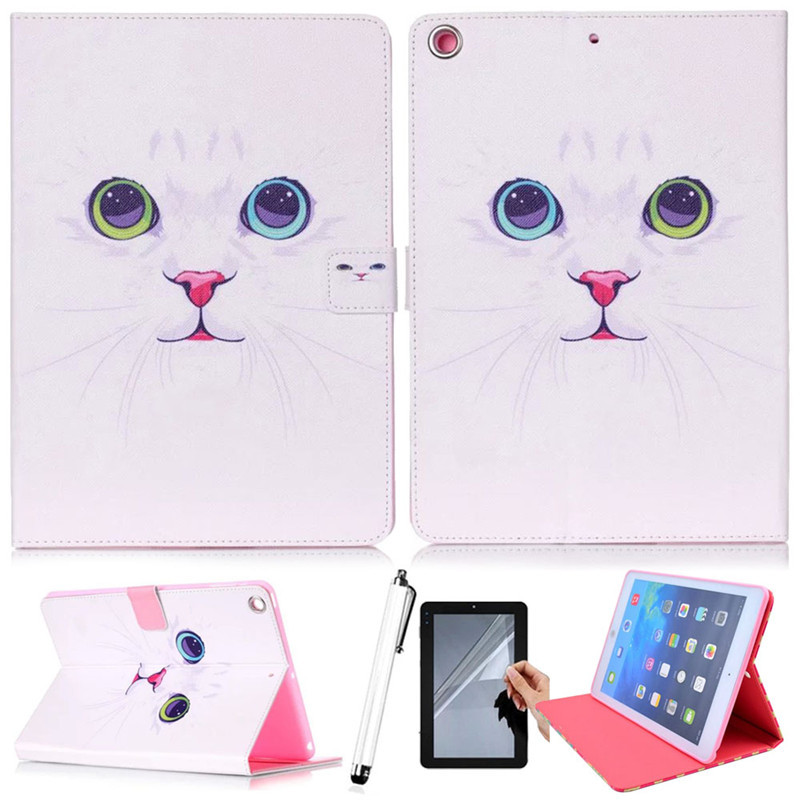 2015 new Cute Cat Pattern PU Leather Smart Cover Case For Apple iPad Air 2 Pad Case For Ipad 6  With Card Holders for apple ipad air 2 pu leather case luxury silk pattern stand smart cover