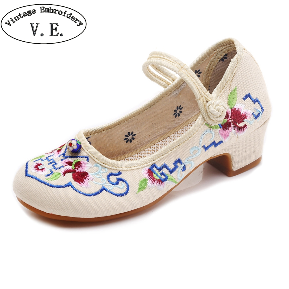 Vintage Embroidery Spring Summer Woman High Heels Shoes Chinese National Embroidered Women Pumps Ballet Latin Dance Shoes vintage pumps spring autumn old beijing embroidery cloth shoes fairy girl embroidered national han chinese women s shoes