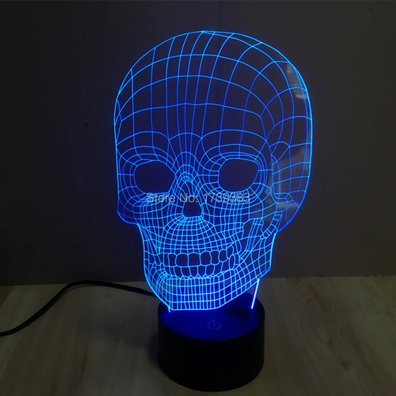 10 pcs/lot Touch Sensor color changing 3D Skull Head LED Night Lights of Crossbones USB table lamp for night Lightsaber