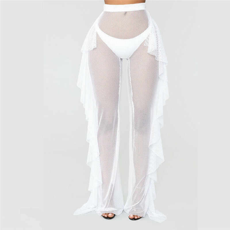 Pantalones De Playa Transparentes Con Volantes Para Mujer Ropa De Playa Lisa Traje De Bano Cover Up Aliexpress