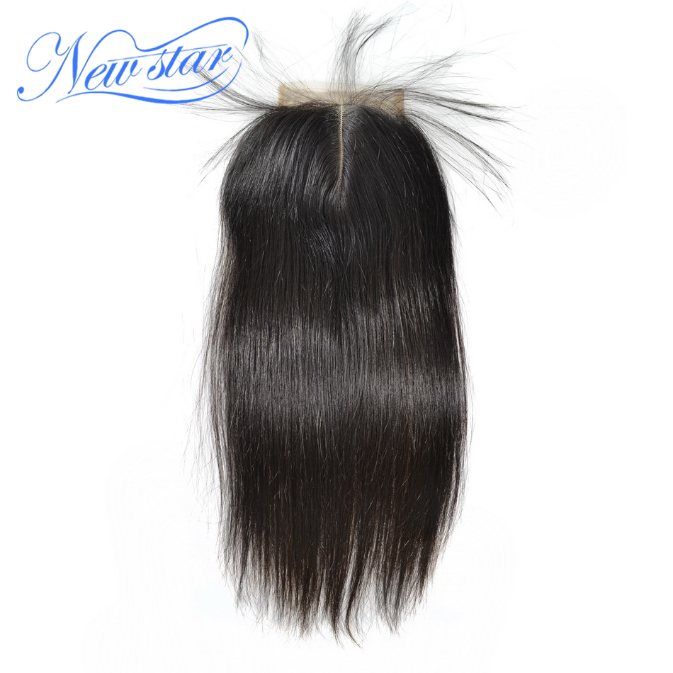 New Star Brazilian Lace Straight Virgin Hair Closures 4x4 Middle Part Natural Color With Baby Hair