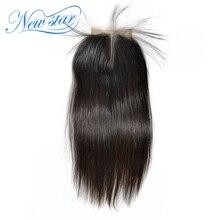 جديد ستار البرازيلي الدانتيل شعر أصلي مستقيم الإغلاق 4x4 الجزء الأوسط اللون الطبيعي مع شعر الطفل ابيض عقدة شحن مجاني