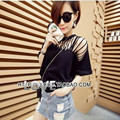 The new summer European fashion sexy lace T-shirt collar women V hollow top leisure female T-shirt and basic size