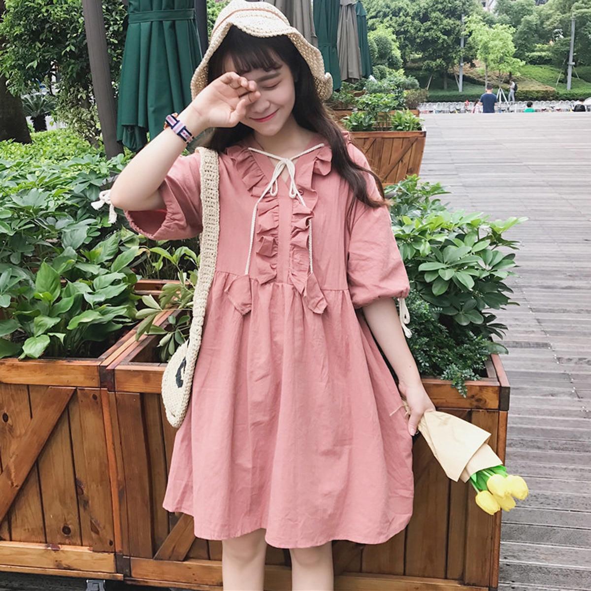 Kawaii Lolita Ruffles Baby Doll Vestido de Verano Retro Vestido Rosa ...