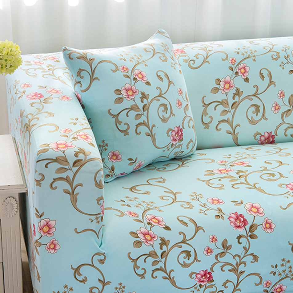 Light Blue Flower Couch Sofa Cover For Living Room Universal Stretch  Furniture Cover Elastic Slipcovers Floral Corner Sofa Cover In Sofa Cover  From Home ...