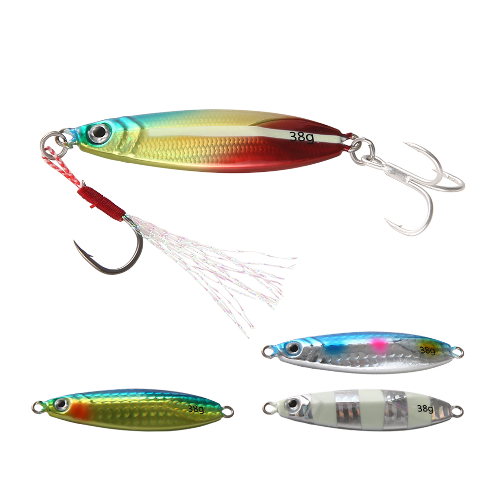 20g/30g/40g Japanese Metal Jigging Lure Artificial Hard Bait Saltwater Fishing Lure Slow Pitch Casting Luminous Jig With Treble