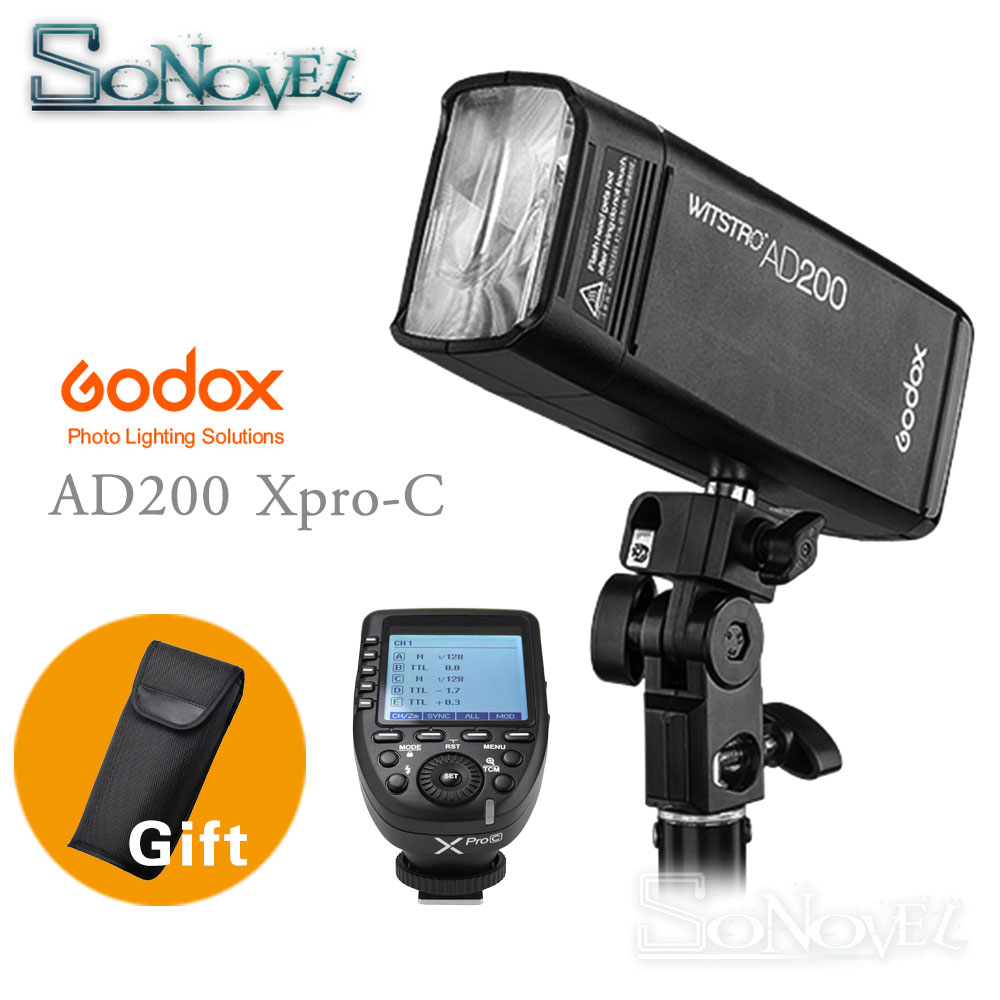 Godox AD200 200Ws TTL GN60 HSS Flash Built-in 2.4G Wireless and Xpro-C/N/F/S/O Transmitter for Canon Nikon Fuji Sony Olympus godox x1t s n c f transmitter triggers ttl tt685s n c f gn60 ttl flash speedlite 0 1 2 s recycle time for canon nikon sony