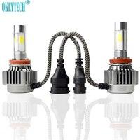 OkeyTech 2 개 최고의 V8 COB LED 헤드 라이트 H4 H7 H8 H9 H11 9005 9006 9004 9007 H13 2*36