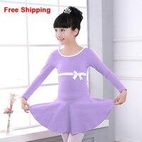 High Quality Cotton Bow Long Sleeve Gymnastics Ballet Dance Dress Children Kids Girls Dance Leotard Dancewear