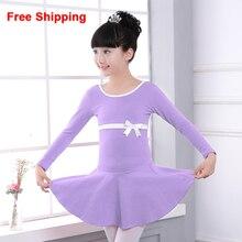 High Quality Cotton Bow Long/Short Sleeve Gymnastics Ballet Dance Dress Children Kids Girls Dance Leotard Dancewear