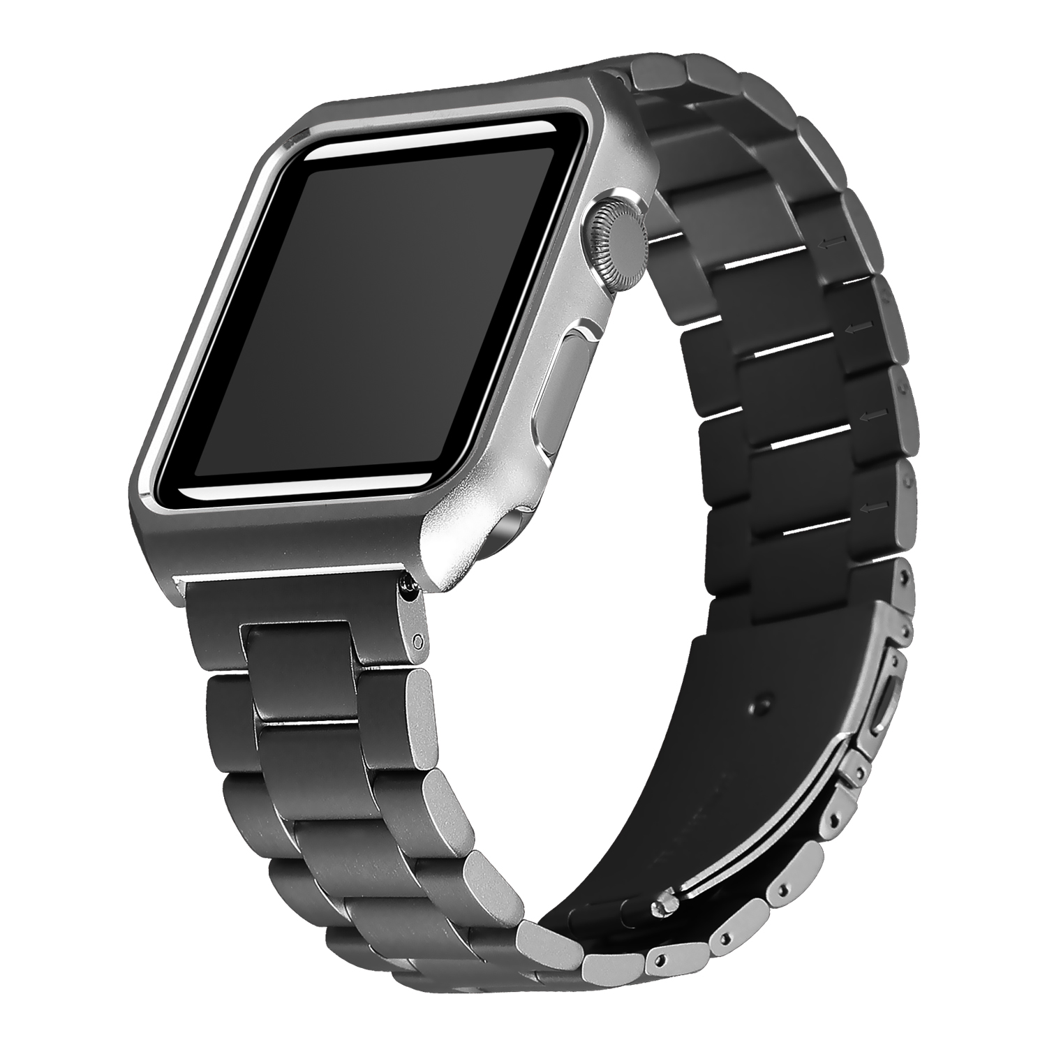 JANSIN Stainless Steel watchband with Protective Case for Apple Watch 38mm/42mm Metal Replacement strap for iwatch Series 3 2 1 jansin 22mm watchband for garmin fenix 5 easy fit silicone replacement band sports silicone wristband for forerunner 935 gps