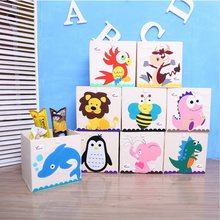 New 13 inch Cartoon Animal Cube Storage Box Folding Washed Oxford Cloth Fabric Storage Bins For Toys Organizers Storage Basket(China)