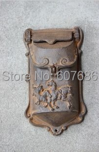 small rustic cast iron mail box mailbox metal letters post box wall mounted postbox home decor