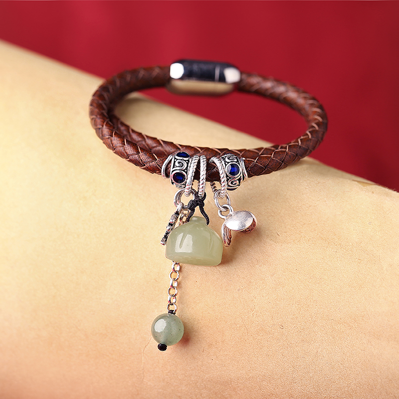 Sen Department of cowhide bracelet original jewelry Vintage European and American fashion hand knit double-loop bracelet women 4 pcs cowhide rope hand bracelet