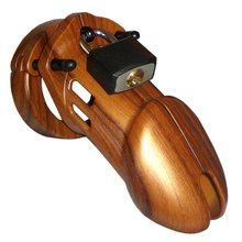 Wooden chastity cock cage for sissies or crossdressers