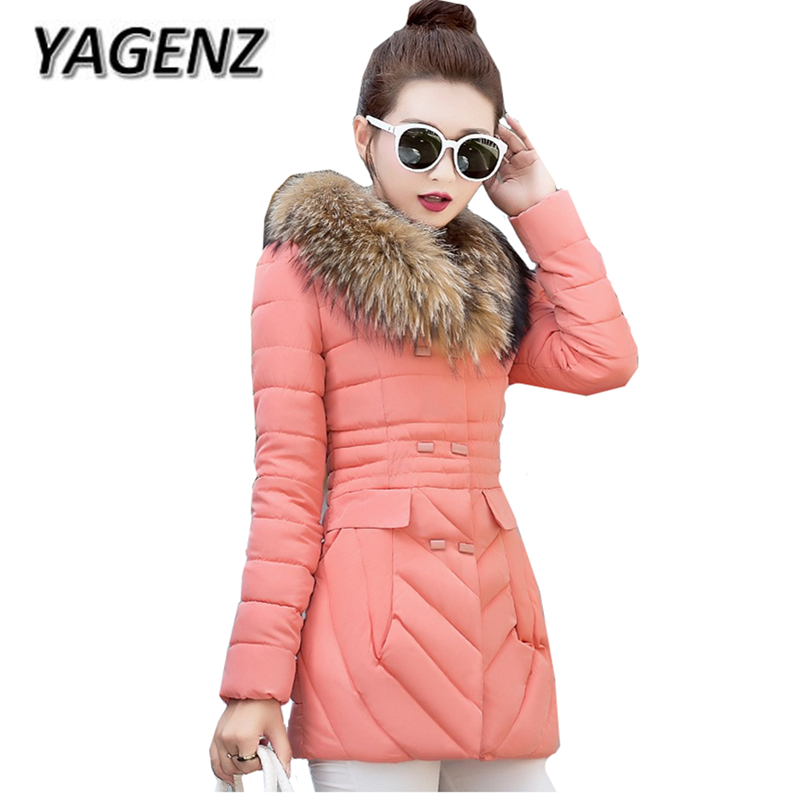 YAGENZ 2017 Down cotton Winter Parkas Women Jacket Coats Fashion Slim Big Fur collar Overcoat Warm Jacket Female Student Coat