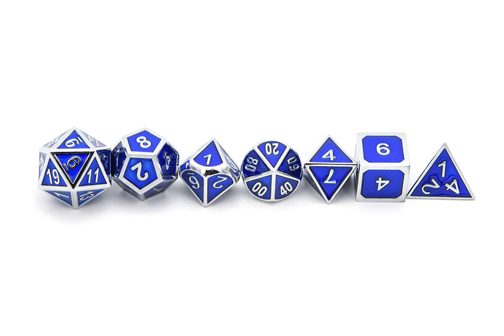 7 pçs set Azul Metal Dice Set