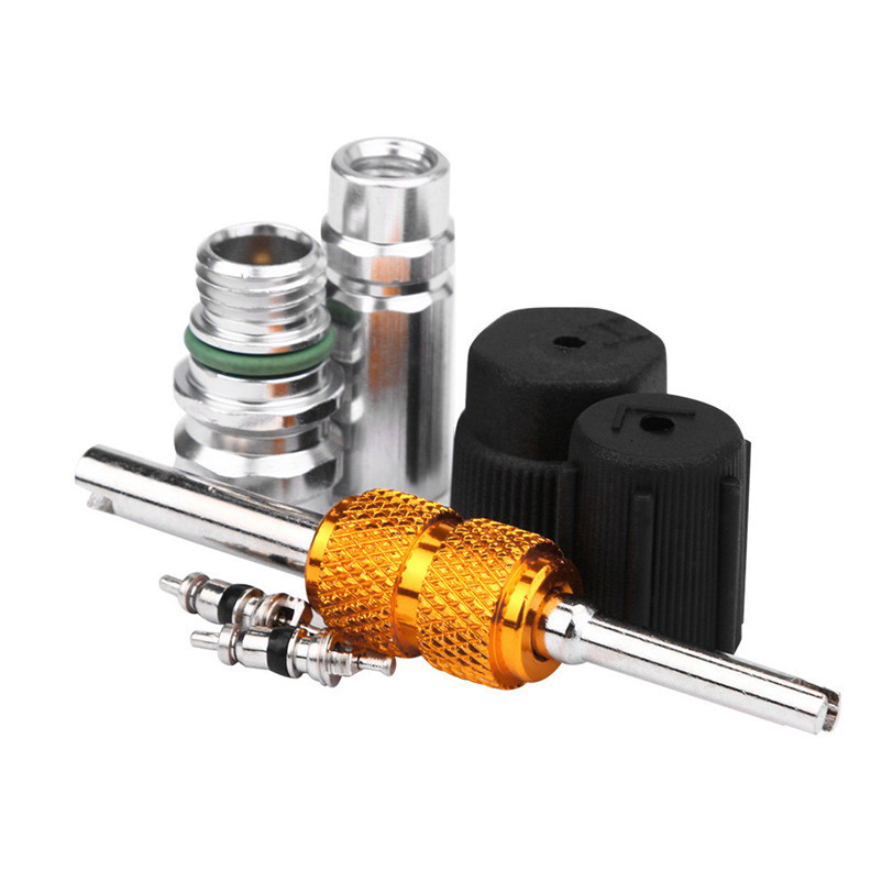 AC System Cap & Valve Service Kit + Schrader Valve Core Remover - Installer Tool high quality car-styling car accessor