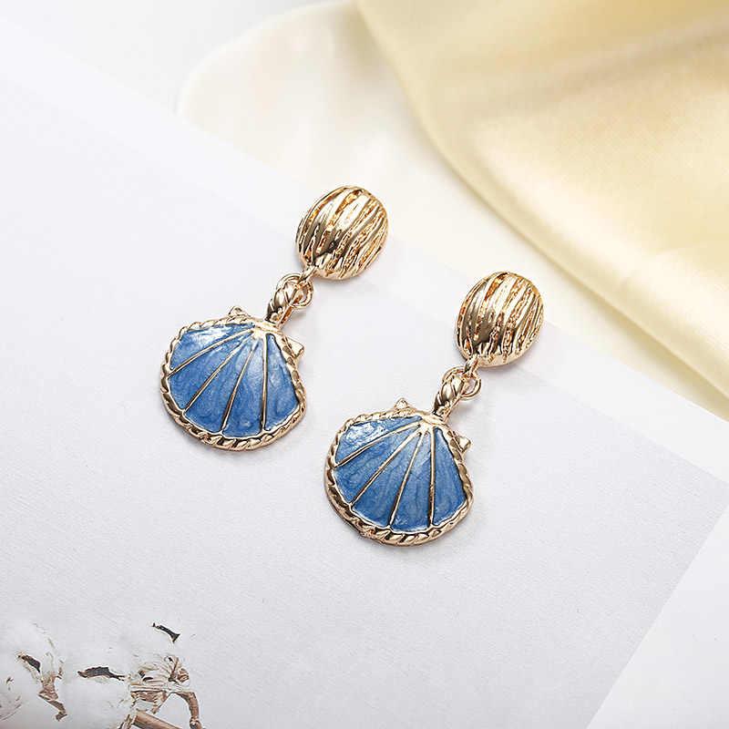 2018 New Shell Drop Earrings Blue White Color Elegant Dangle Earrings For Women Gift Hot Sell Fashion Jewelry Wholesale  E027