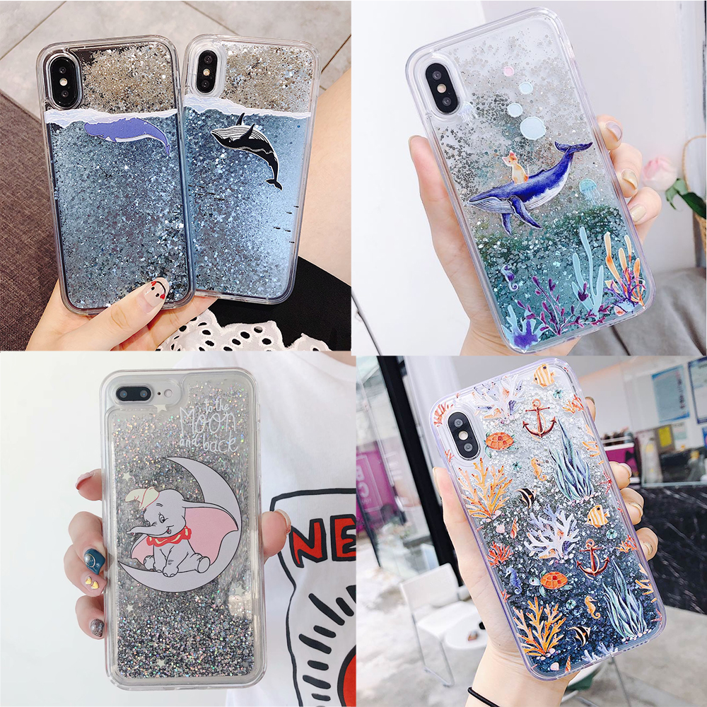Dumbo Whale Fish Phone <font><b>Case</b></font> For <font><b>Huawei</b></font> P10 P20 P30 Lite P Smart <font><b>Y7</b></font> Pro Y9 2018/<font><b>2019</b></font> Bling Quicksand Water Liquid <font><b>Case</b></font> Soft Cover image
