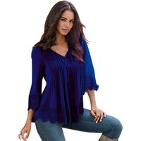 Blusas Autumn Women Lace Shirts 3/4 Sleeve O Neck Hollow Out Loose Fit Shirts Leisure Solid Color Tops Plus Size