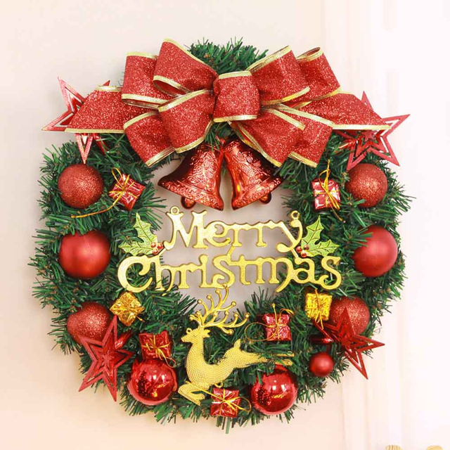 christmas large wreath bowknot bell christmas wreath garland hanging pendant tree ornament wall decals wreaths - Large Christmas Wreaths