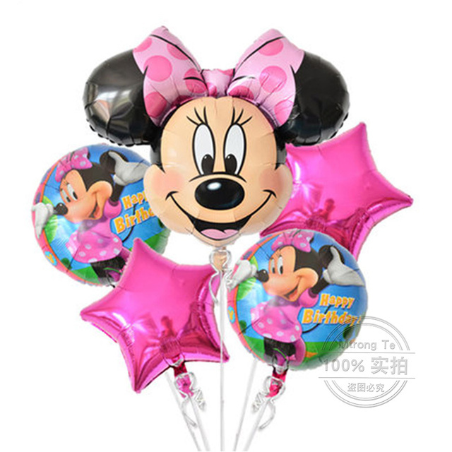 5pcs Happy birthday balloon mickey minnie mouse 18 inch round shape Foil Balloons Baby party decoration globos Mtrong Te