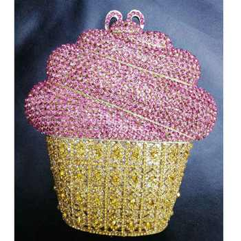 Newest Luxury Ice cream Crystal Evening Bag Gold Silver CupCake Wedding Party Prom Clutch Purse Handbag Chain Shoulder Bag SC621