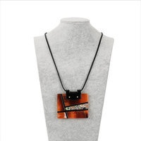 Geometric Stitching Pendant Necklace Leather Rope Costume Jewelry Retro Designer Statement Jewellery Pendants With Chain N10274