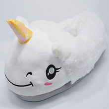 Super Cute Unicorn Plush Slippers Home Women Slipper Pure White Warm Indoor Women Shoes Soft Flat House Slippers Flip Flops