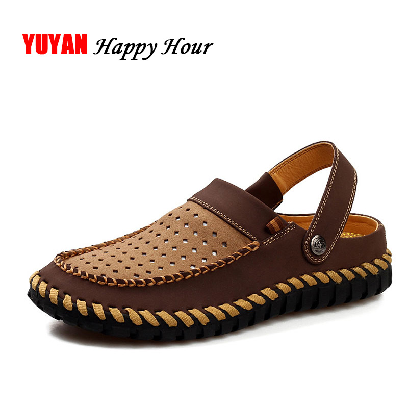 100% Genuine Leather Sandals Men Flat Heel Summer Shoes 2017 Mens Sandals Male Casual Brand Shoes Soft Beach Sandals CH2076 summer of 2016 new fashion brand comfort soft male beach leather sandals men closed toe sandals flexional suede leather shoes