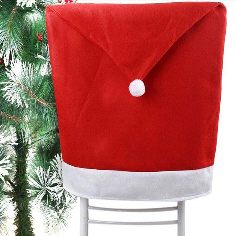 1PCS Christmas Day Decoration Santa Red Hat Chair Back