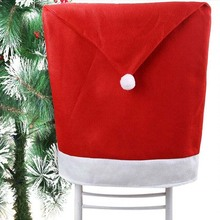 1PCS Christmas Day Decoration Santa Red Hat Chair Back Cover  Dinner Table Party Large Sack Stocking Santa Claus Xmas Gifts