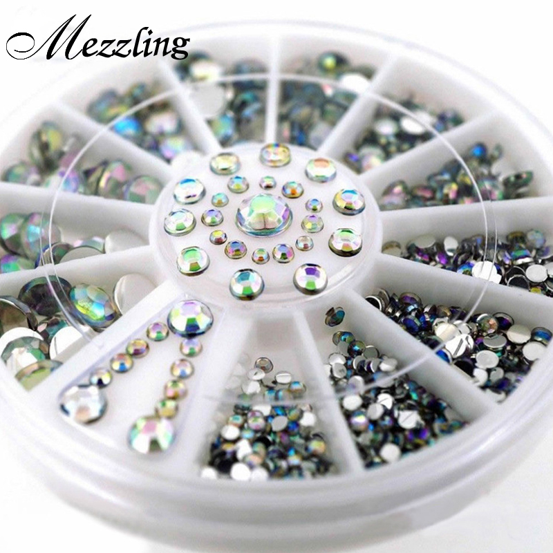 Mix Sizes Crystal AB Glitter Rhinestone 3D Acrylic Nail Art Tips Decoration Wheel Set DIY Nail Accessories 288pcs g2001 4x6mm 6x8mm crystal ab 3d nail art tips rhinestone decoration for nail tools for nail art garment shoes decoration